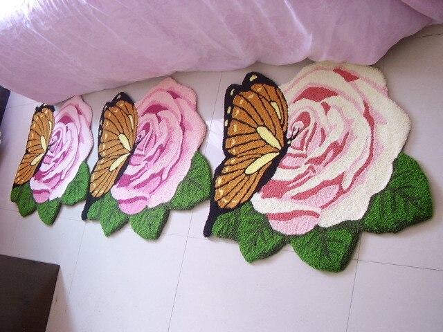 Tapis Rose romantique, tapis de porte papillon design, tapis Floral mode
