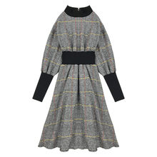 PERHAPS U vintage tweed plaid  black khaki stand collar midi dress aut