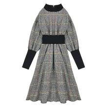 PERHAPS U vintage tweed plaid  black khaki stand collar midi
