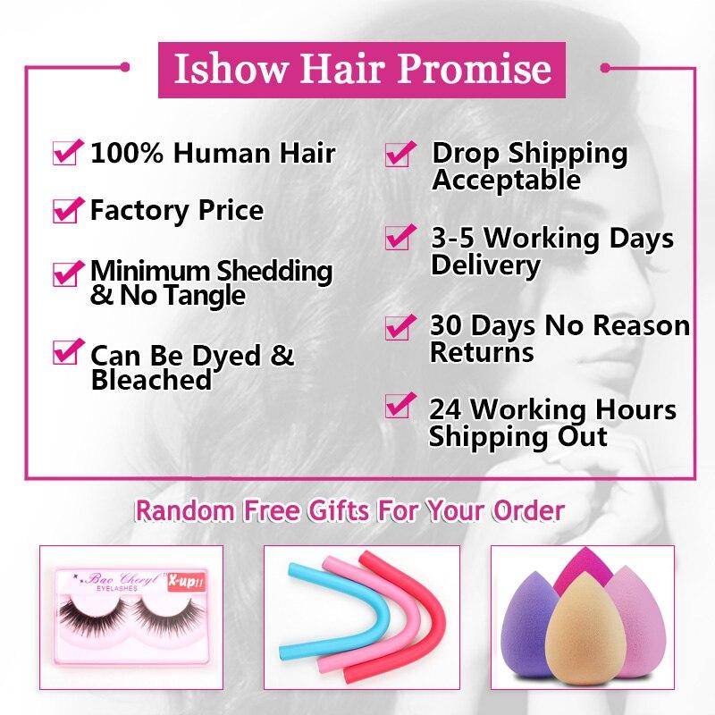 ishow cabelo liso empacota com fechamento feixes 01