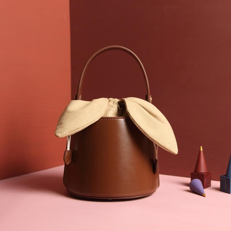 2019 NEW design Rabbit ears bags women handbags genuine leather bucket vintage carry packet cross body
