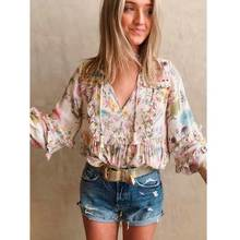 Boho Inspired Wild floral print cream blouse women long sleeve V-neck frill boho blouse shirt 2019 new gypsy hippie summer top girls calico print blouse with frill trim shorts
