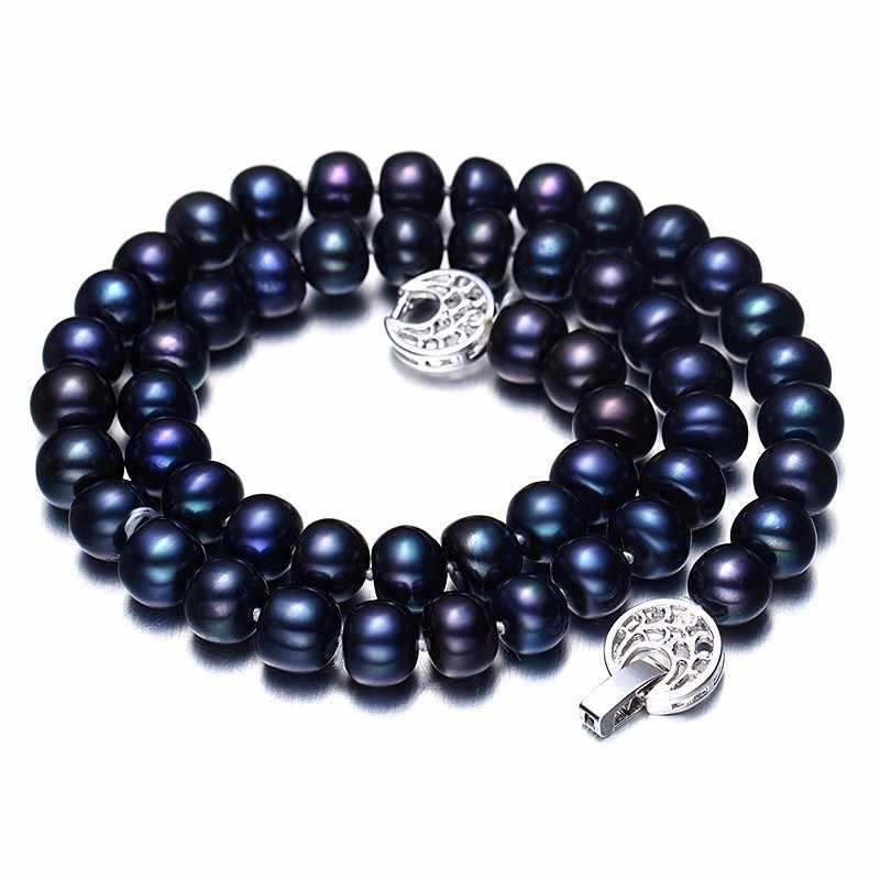 Women Natural Black Freshwater Pearl Jewelry Sets,925 Sterling Silver Necklace&Bracelet,9-10mm Beads Jewelry,Life Tree Buckle