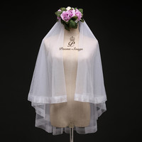 Poems Songs High Quality Wedding Veil Two Layer Newstyle Simple Bridal Veil Comb Elegant Ivory White