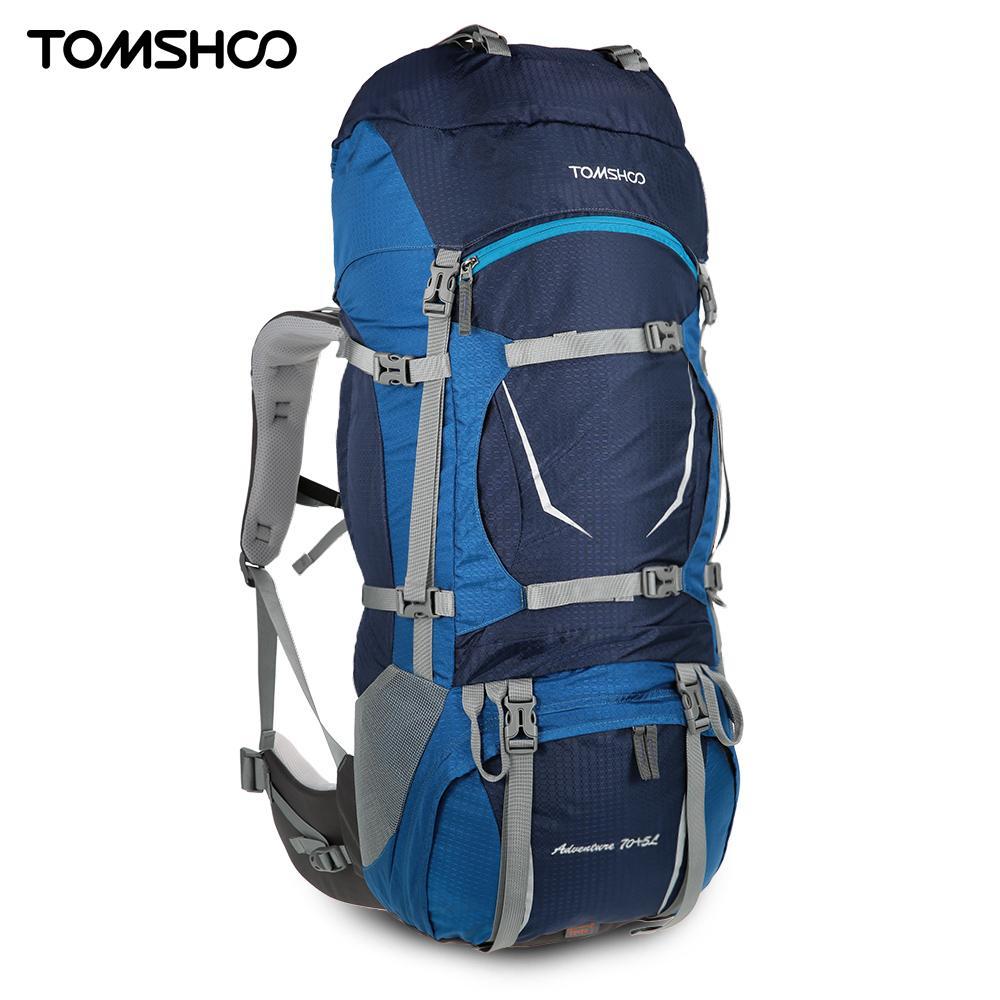 TOMSHOO 70 + 5L sac à dos randonnée Trekking sacs à dos Sports de plein air résistant à l'eau avec habillage pluie pour escalade Camping voyage