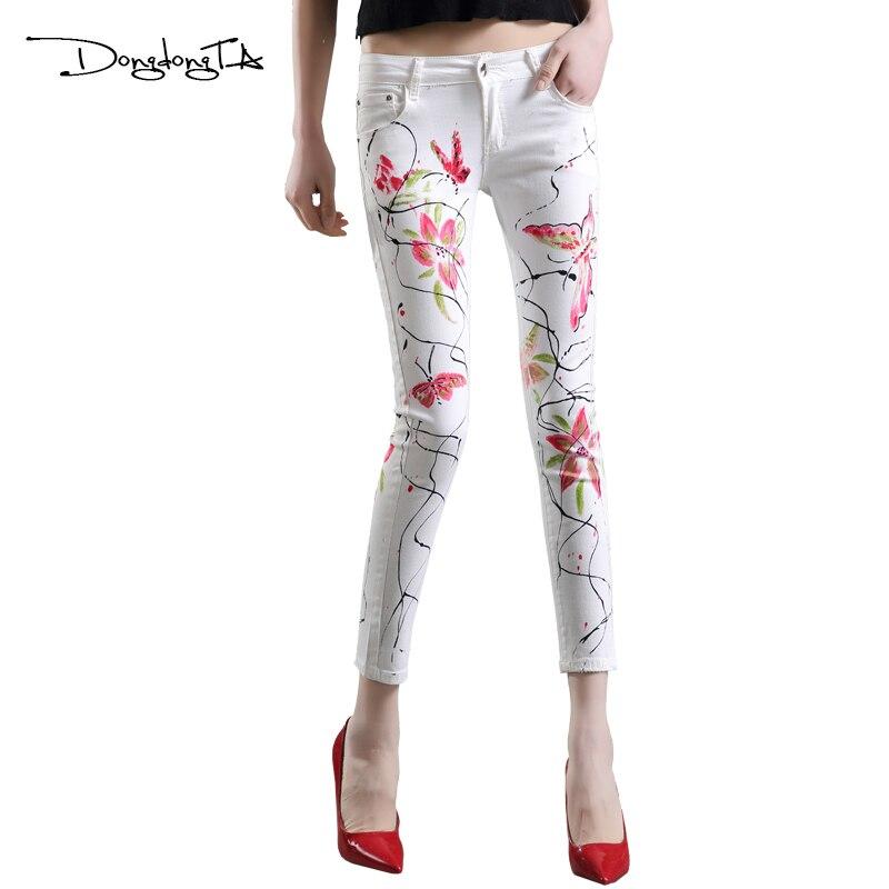 Dongdongta ženy mladé dívky hubená tužka kalhoty 2017 nové módní džíny originální design malované kalhoty kalhoty letní kalhoty