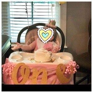 Image 3 - 골드 반짝이 프린스 공주에 대한 하나의 배너 아기 소년 소녀 첫 번째 첫 번째 생일 파티 높은 의자 장식 용품 사진 소품