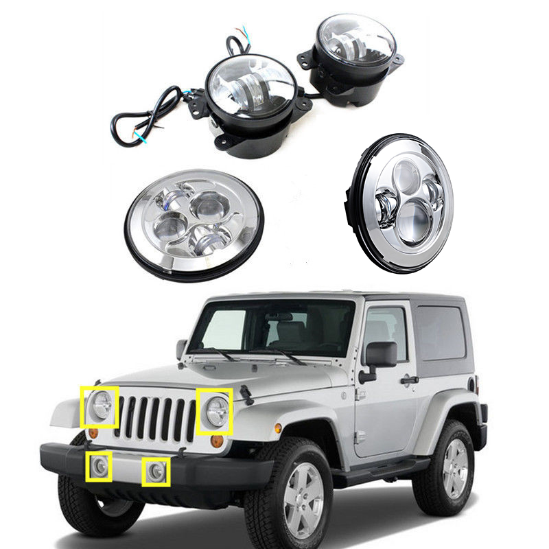 7'' inch LED Projector headlights Silver and 4 inch LED Fog lights Lamp for Jeep Wrangler Dodge Chrysler Front Bumper lights 2pcs led round 4 inch fog lights 30w 4 fog lamp lens projector led driving headlamp for offroad jeep wrangler dodge chrysler