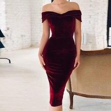 225577f6b710d Ahagaga 2019 Bahar yaz elbisesi Kadın Moda Kapalı omuz Kısa Kollu Seksi  Slash Boyun Kadife Kadın Elbise Vestidos Elbiseler