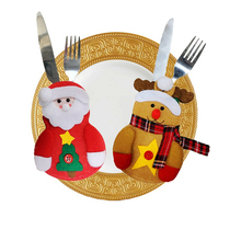 New Year Merry Christmas Knife Fork Cutlery Set Skirt Pants