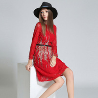 Europe Kim Kardashian Dresses Early Autumn New Slim Lace Long Sleeved Printed Dresses