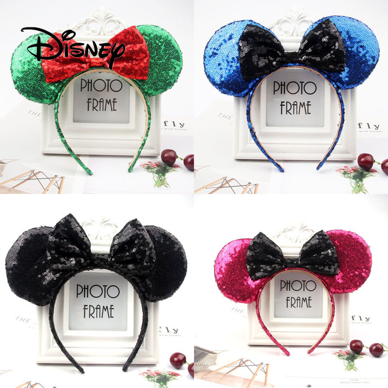 Disney Ear Mickey Minnie Bow Child Cartoon Headwear Accessories Kawaii Plush Decoration Toy Headband Girl Birthday Party Gifts
