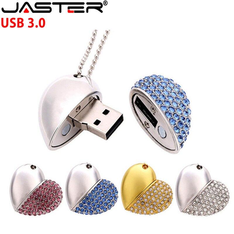 Corações de cristal da vara da memória da movimentação do flash de usb do coração do amor do diamante de jaster usb 3.0 com corrente pendrive 4 gb 8 gb 16 gb 32 gb 64 gb presente