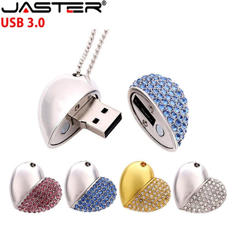 JASTER USB 3.0 Crystal Diamond Love Heart Usb Flash Drive Memory Stick Hearts With Chain Pendrive 4GB 8GB 16GB 32GB 64GB Gift