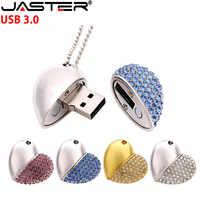 JASTER USB 3.0 cristal diamant amour coeur usb clé USB mémoire bâton cœurs avec chaîne clé usb 4GB 8GB 16GB 32GB 64GB cadeau
