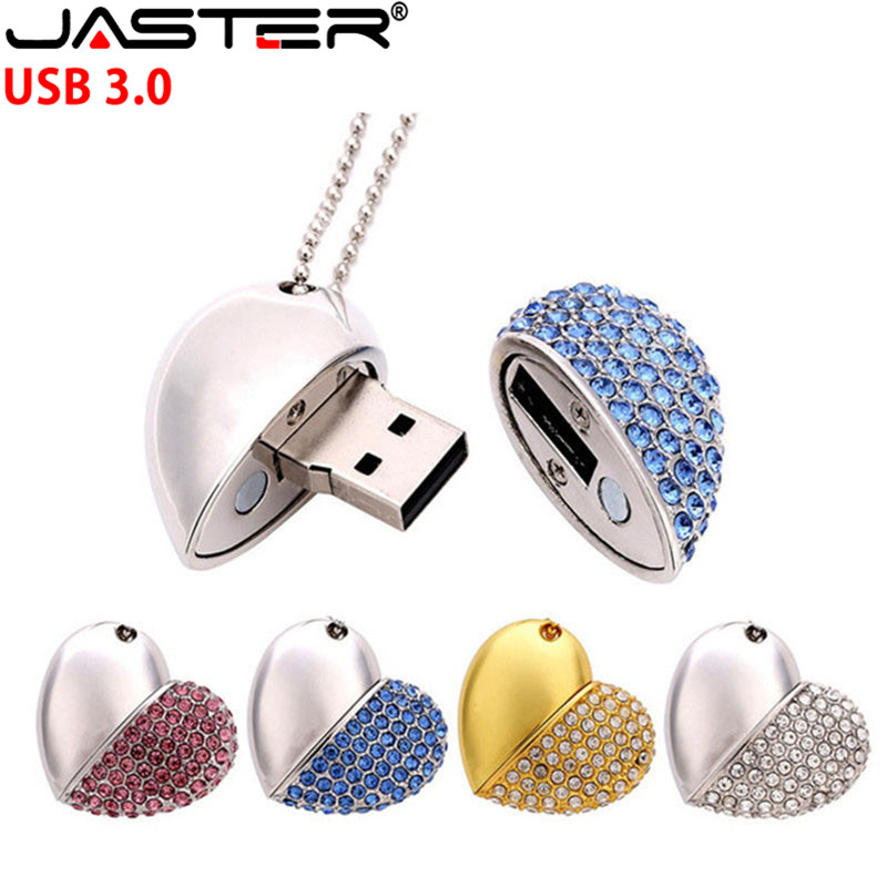 JASTER USB 3.0 do amor do coração de cristal de diamante usb flash drive Memory stick pendrive corações com corrente 4GB 8GB 16GB GB 64 32GB presente
