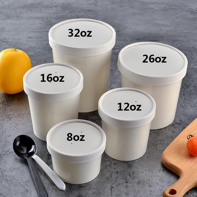 100x 8oz 12oz 16oz 26oz 32oz 235ml 1050ml Round Paper Soup