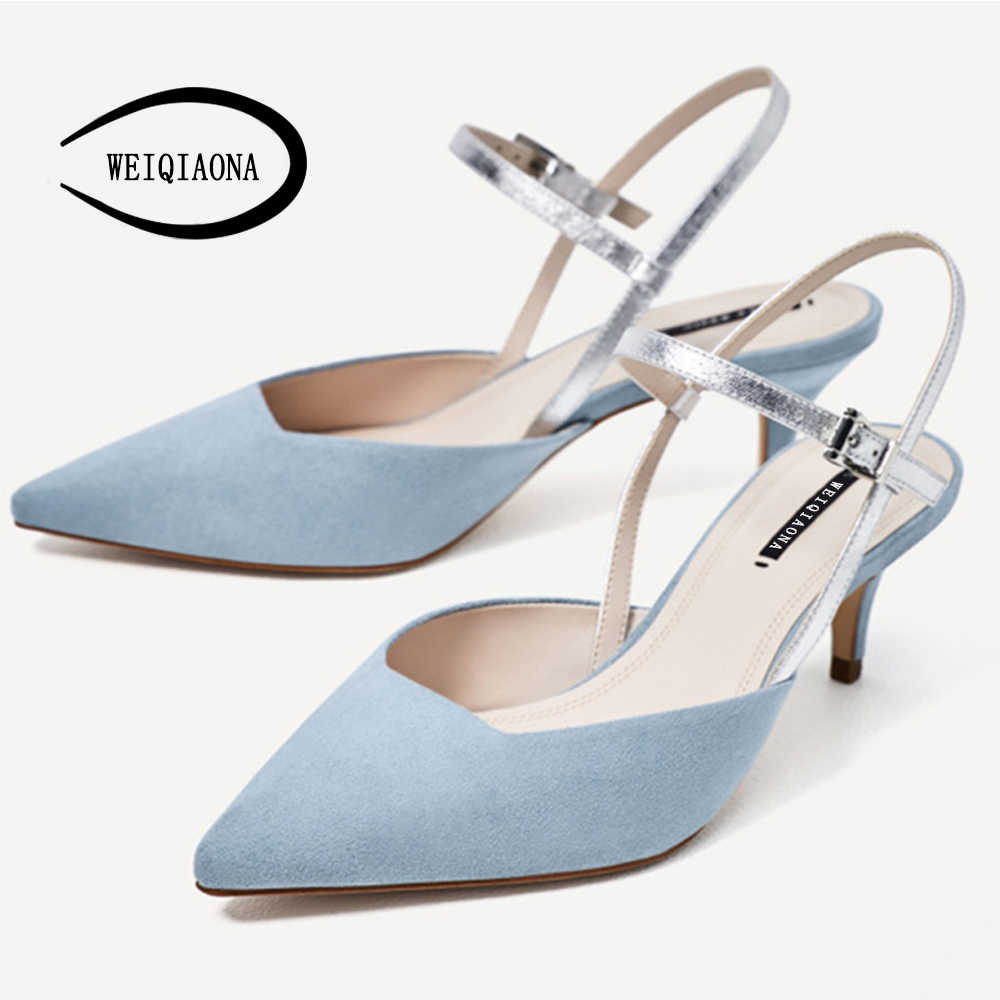 a794a736310bd0 WEIQIAONA 2019 New Sky Blue Women Shoes Low Heels Pumps Fashion Sandals  Buckle Strap Ladies Shoes