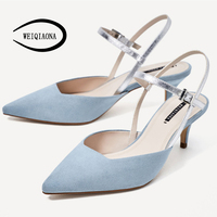 WEIQIAONA 2019 New Sky Blue Women Shoes Low Heels Pumps Fashion Sandals Buckle Strap Ladies Shoes Party Shoes Brand Design