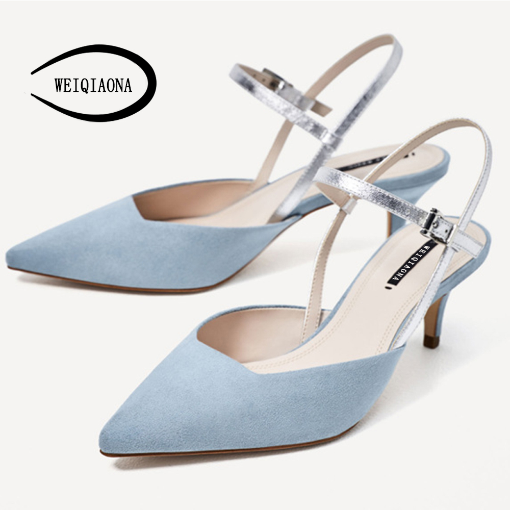 WEIQIAONA casual light blue women shoes low heels single Fashion women buckle strap pump ...