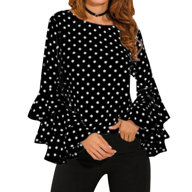 NIBESSER/Новые шифоновые рубашки в горошек с расклешенными рукавами и круглым вырезом, женские топы в Корейском стиле, белая и черная блузка