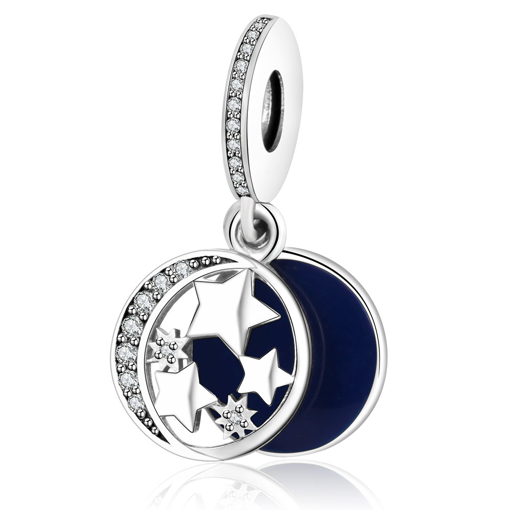 2017 Spring Fit Original Pandora Charms Bracelet Jewelry 925 Sterling Silver Dangle Beads Stars Pandent Charm With CZ and Enamel