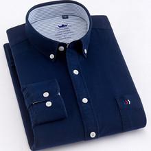 Quality Pure Cotton Oxford Plain solid men shirts Fashion Button Collar Long sleeve comfortable soft regular