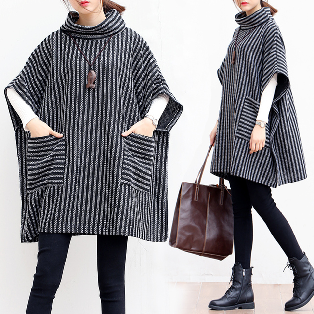 P Ammy Lagenlook Batwing sleeve Big pocket Striped knitted Sweater Poncho  Lady Turtleneck Fall Winter Loose knitted cotton Tops