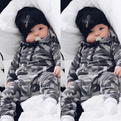 Pudcoco New Style Spring&Fall Long Camo   Romper   Baby Boy Long Sleeve Hooded Jumpsuit Warm Newborn Sleepwear Clothes Outfit