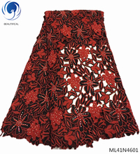 BEAUTIFICAL french laces fabrics high quality tulle african lace fabric rhinestones nigerian ML41N46