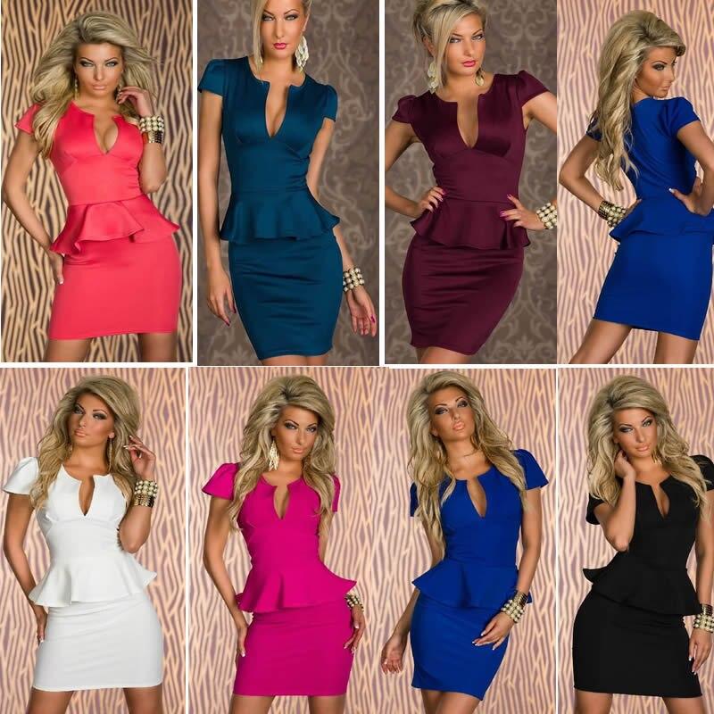 2014 New Casual Summer Dress Women U Neck Elegant Ol Peplum Dress