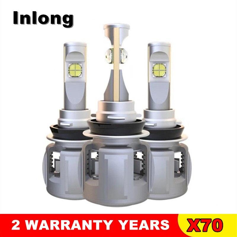 INLONG 2 шт. H4 H7 светодиодный лампы H11 H1 9005 9006 зэс чипсы 80 Вт 9600LM 6000 К автомобиля светодиодный авто фары противотуманные
