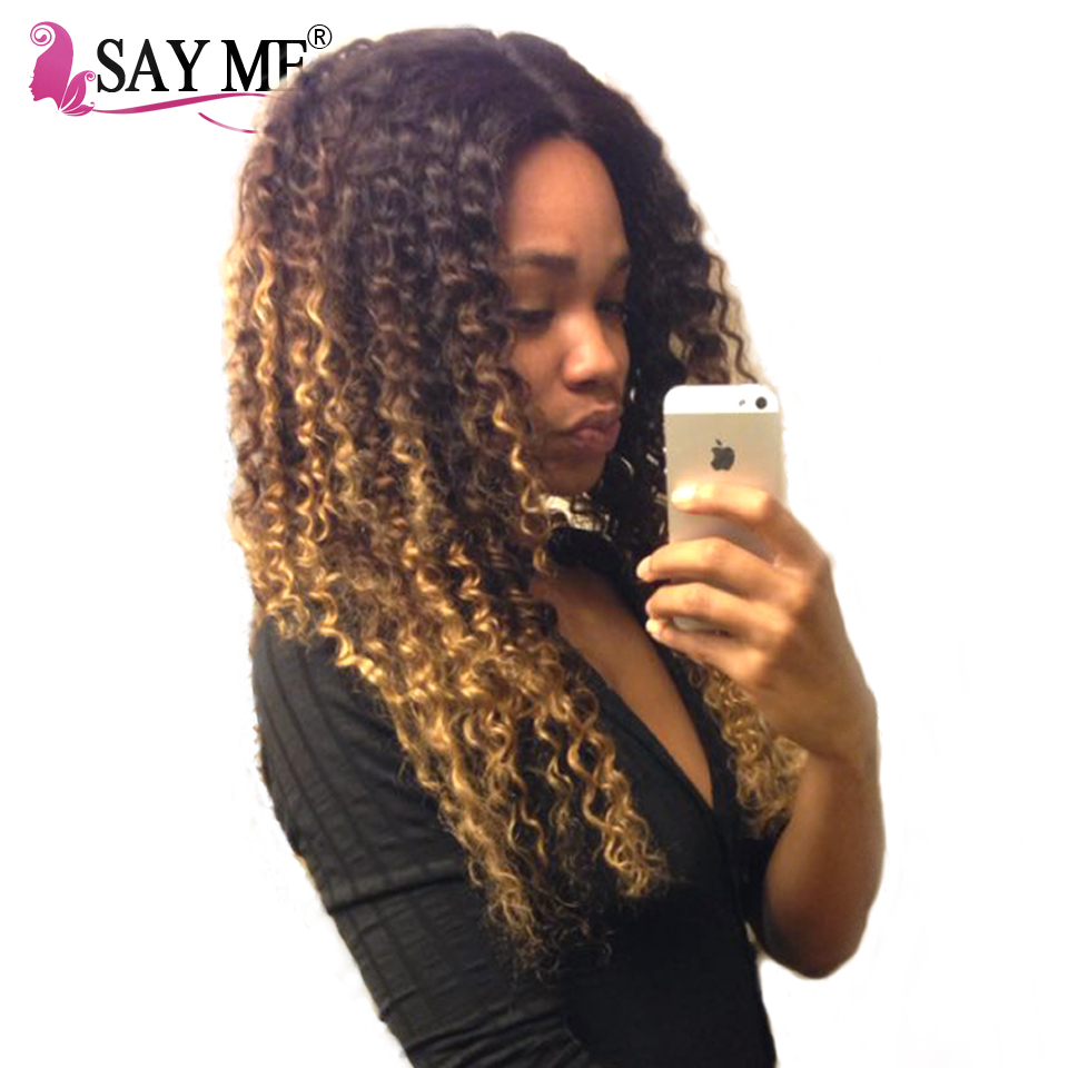 SAY ME Deep Wave Brazilian Hair Ombre Human Hair Weave Bundles Extensions 1b/4/27 Blonde Non Remy Can Buy 3 or 4 Hair Extension