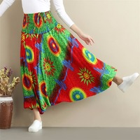 LZJN Nepal Style Baggy Pants Women Long Trousers High Elastic Waist Flower Cross Pants Very Soft