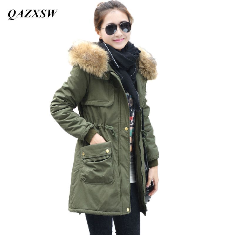 QAZXSW Women Winter Coat Wadded Jacket Medium-Long Plus Size Parka Fur Collar Thickening Hood Abrigos Female Snow Wear YX8824 цены онлайн