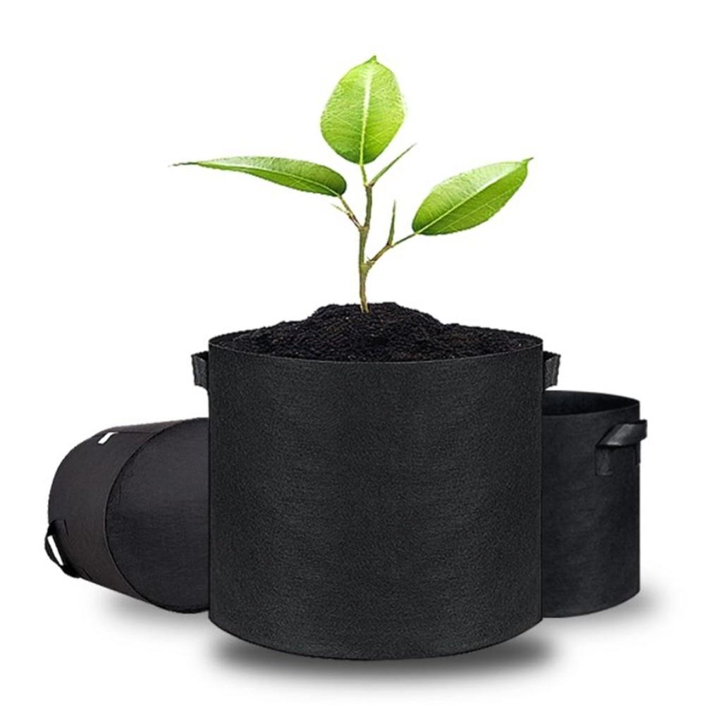 5PCS Farm Flowerpot Garden Supplies Planter Grow Bag Planting Pouch Fabric Black