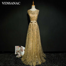 VENSANAC 2017 New A Line Bow O Neck Long Evening Dresses Sleeveless Elegant Sashes Tank Lace Party Prom Gowns