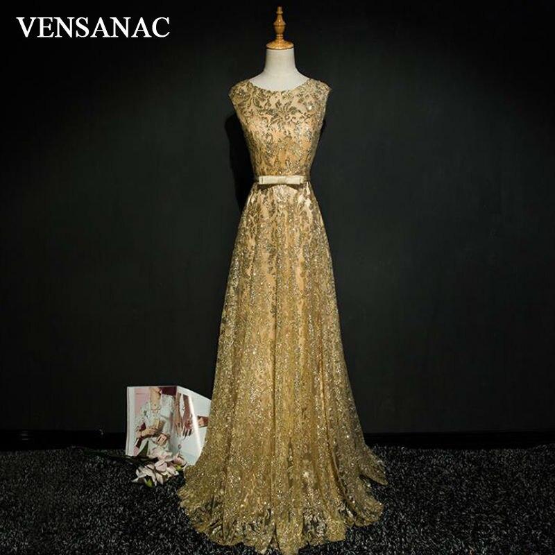 VENSANAC 2017 nouvelle ligne arc O cou longues robes de soirée sans manches élégant ceintures débardeur dentelle fête robes de bal