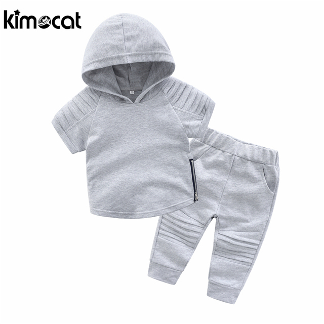 Kimocat Spring Autumn Baby Boy Clothes Suits 2pcs Hooded+Pants 100% Cotton Children Clothing Sets Toddler Brand Tracksuits Set