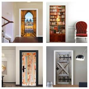 Image 2 - Book Shelf Bookcase Vintage Wood Door Wall Door Stickers For Kids Room Balcony Scene Sticker Bathroom Toilet