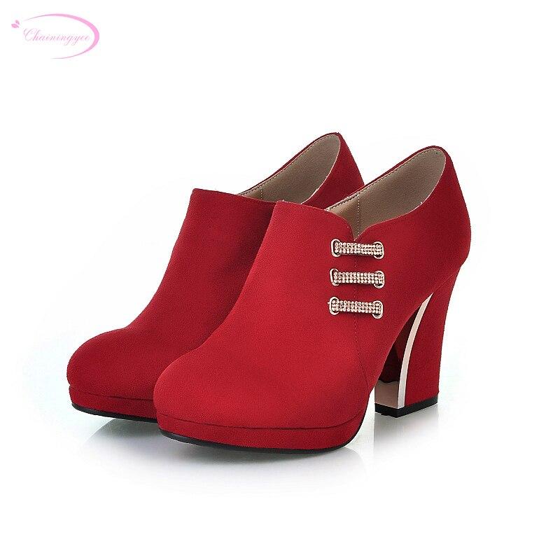 66eab1a118d Chainingyee festa estilo confortável dedo do pé redondo bombas de diamante  moda decoração zipper sapatos de plataforma dos saltos altos das mulheres  tamanho ...