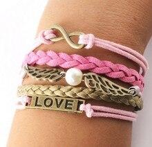 Hot new kors bracelet Retro Alloy Knitted Brown Leather Rope leather bracelet Believe LOVE Infinity Bracelet Fashion Men Jewelry