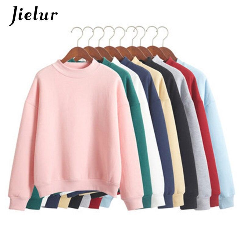 Venta al por mayor M-XXL lindo mujeres sudaderas con capucha Jersey 9 colores 2018 otoño abrigo de invierno lana suelta de punto grueso Sudadera Mujer