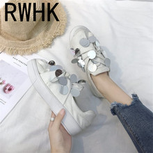 RWHK Canvas shoes 2019 spring and autumn new sequins pleated flat Korean version of shallow mouth wild single B101
