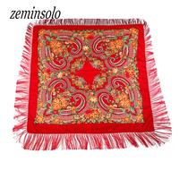 New Brand Fashion Winter Cotton Big Size Square Scarf Soft Warm Charm Tassel Scarf Hijab Hot