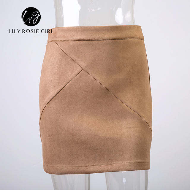 Autumn Style Casual Mini Skirt Suede Leather High Waist Sexy Pencil Office Work Zipper Split Short Bodycon Women Skirts