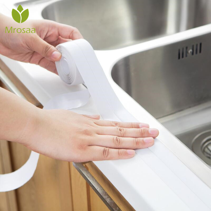 3.8*320cm Self Adhesive Kitchen Ceramic Sticker Waterproof Anti-moisture PVC Stickers Bathroom Wall Corner Sink Seal Ring Tape
