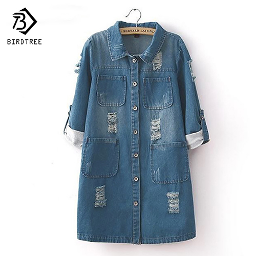 New Fashion Spring Autumn Women Long Sleeve Roll Up Jeans Coat Female Casual Ripped Long Denim Jacket Outerwear 5XL T52920(China)