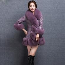 2016 Slim White Black Blue Purple 6XL 5XL Big Size Full Pelt Fur Coat Sobretudo De Inverno Feminino  Casaco Pele