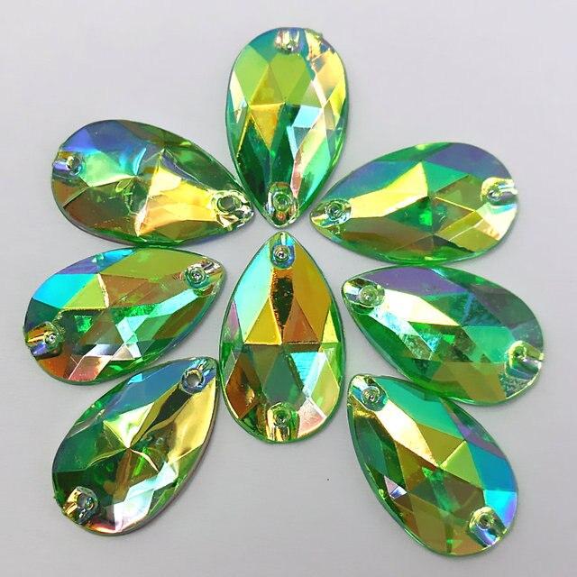 30 unids, 11x18mm increíble verde AB acrílico flojo Diamantes con ...